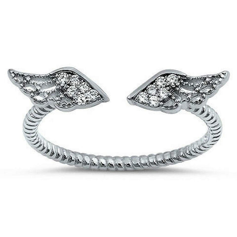 Sterling Silver and CZ Angel Wings Ring