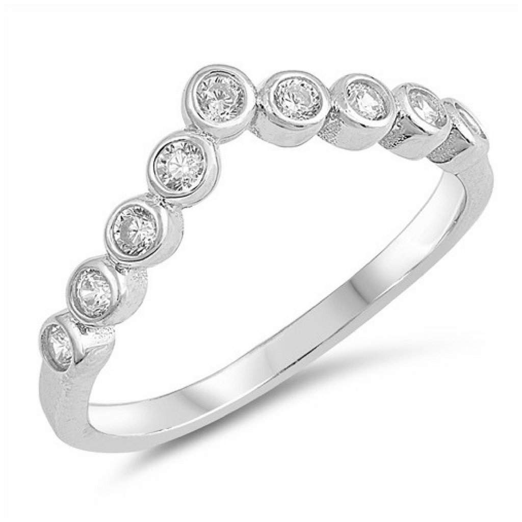Sterling Silver and CZ V Shaped Ring