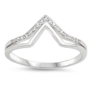 Sterling Silver Double V CZ Ring - JaeBee Jewelry