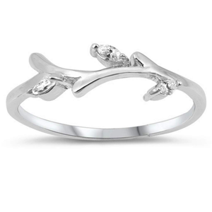 CZ and Sterling Silver Branch Ring - JaeBee Jewelry