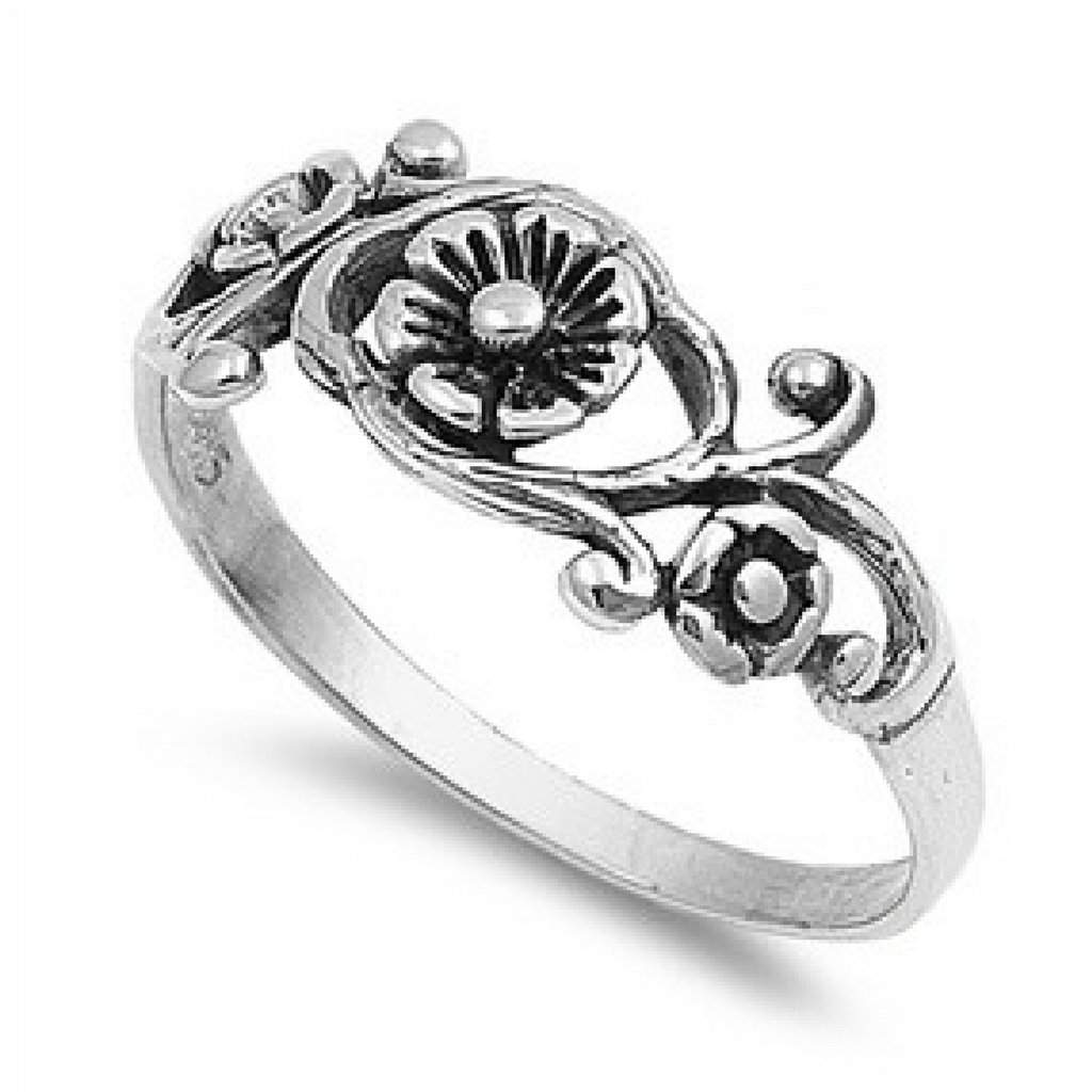 Sterling Silver Flower and Leaves Ring - JaeBee Jewelry