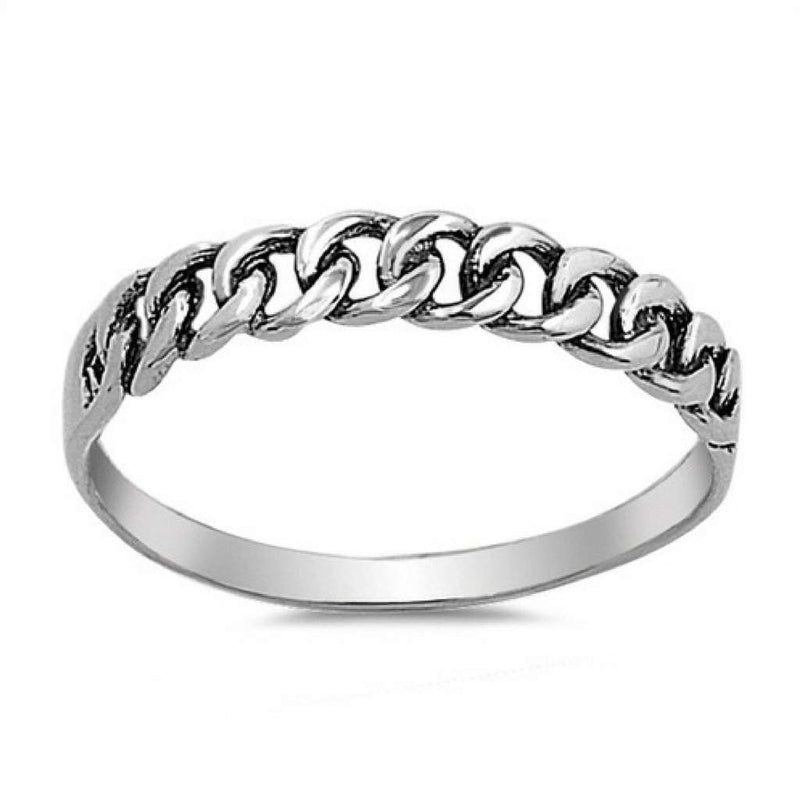 Sterling Silver Curb Chain Ring - JaeBee Jewelry