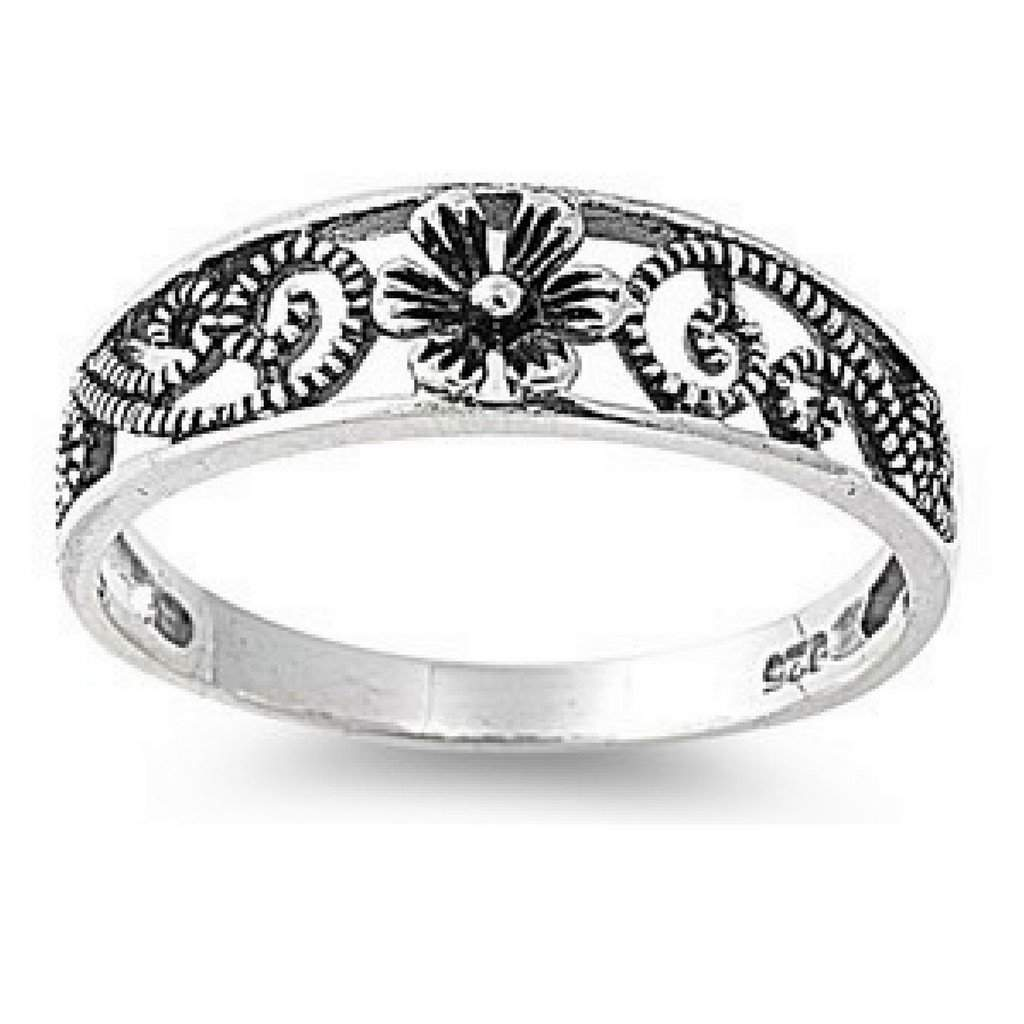 Sterling Silver Antique Flower Ring - JaeBee Jewelry