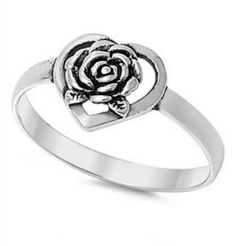 Sterling Silver Heart and Rose Ring