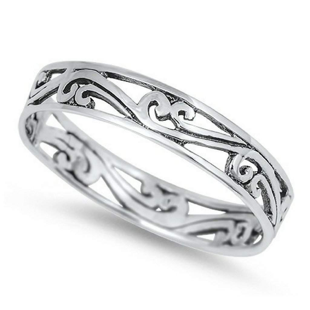 Swirl Cut Out Sterling Silver Ring - JaeBee Jewelry