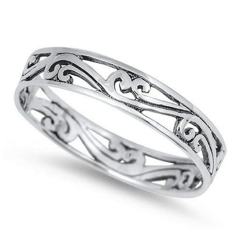 Swirl Cut Out Sterling Silver Ring