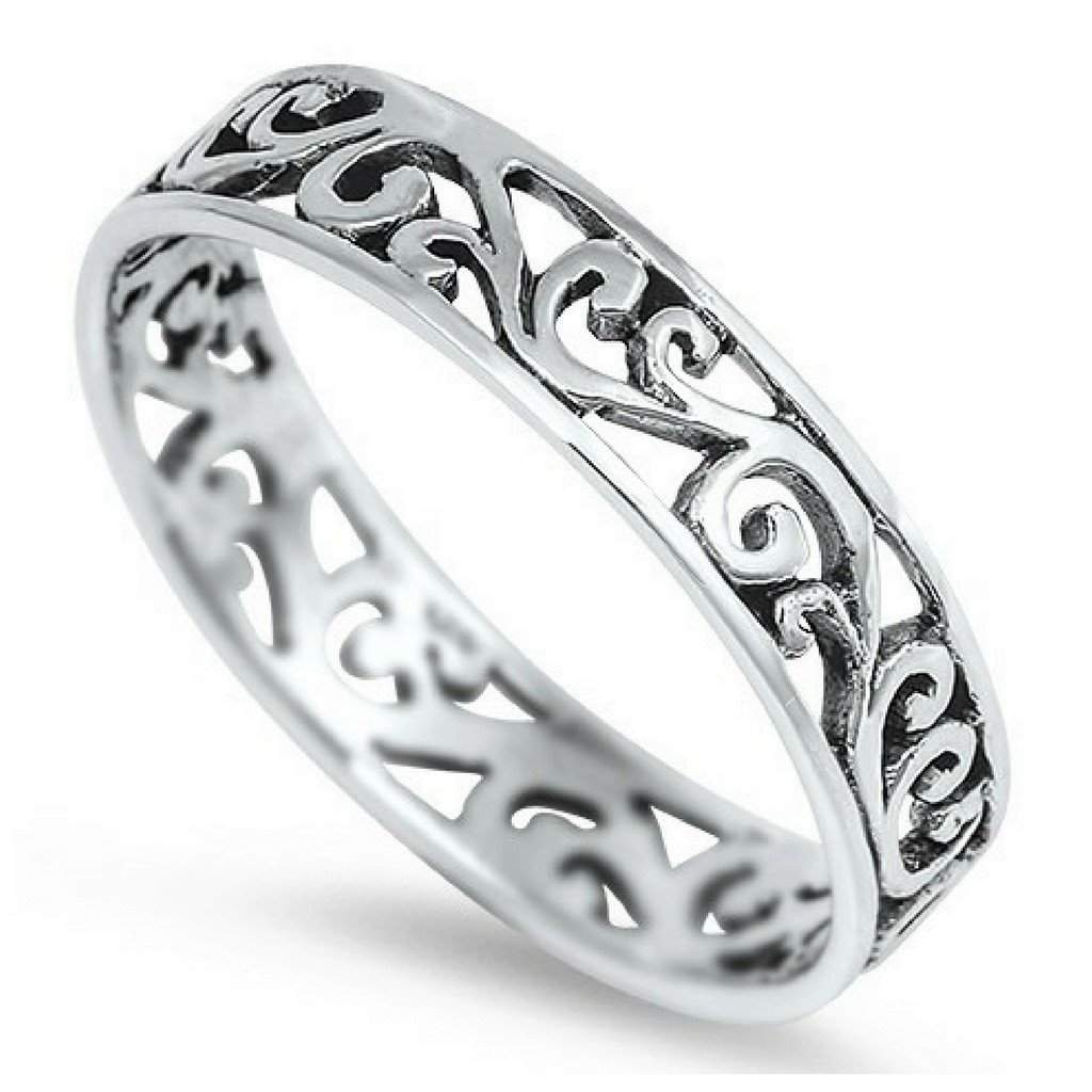 Sterling Silver Cut Out Wave Ring