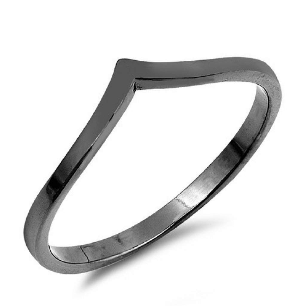 Sterling Silver Black Rhodium V Ring