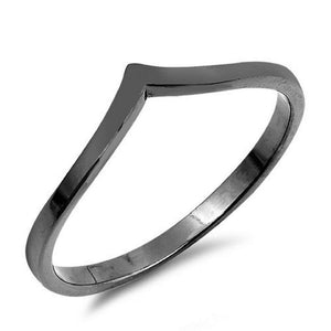 Sterling Silver Black Rhodium V Ring - JaeBee Jewelry