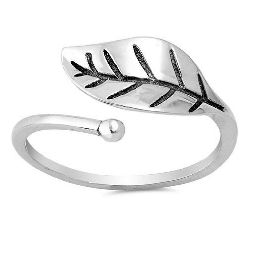 Sterling Silver Single Leaf Wrap Ring - JaeBee Jewelry