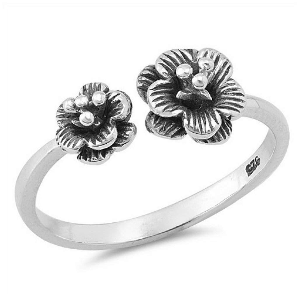 Sterling Silver Plumeria Flower Open Ring