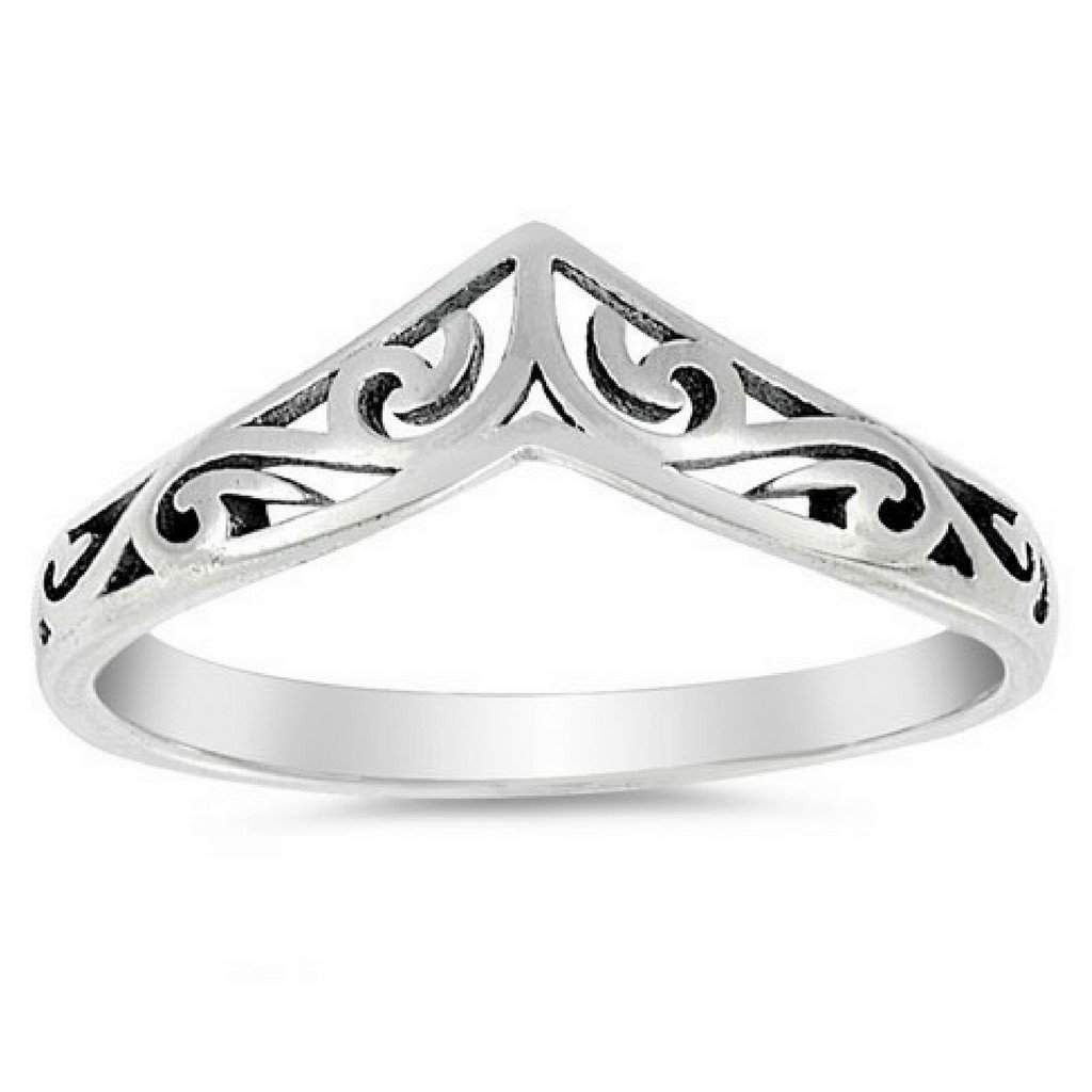 V Shaped Swirl Design Sterling Silver Ring - JaeBee Jewelry