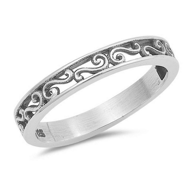 Sterling Silver Filigree Ring Band - JaeBee Jewelry
