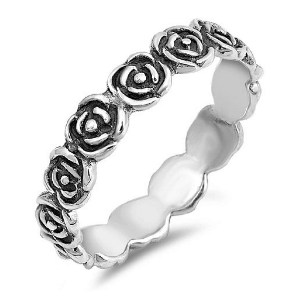 Sterling Silver Rose Eternity Ring - JaeBee Jewelry