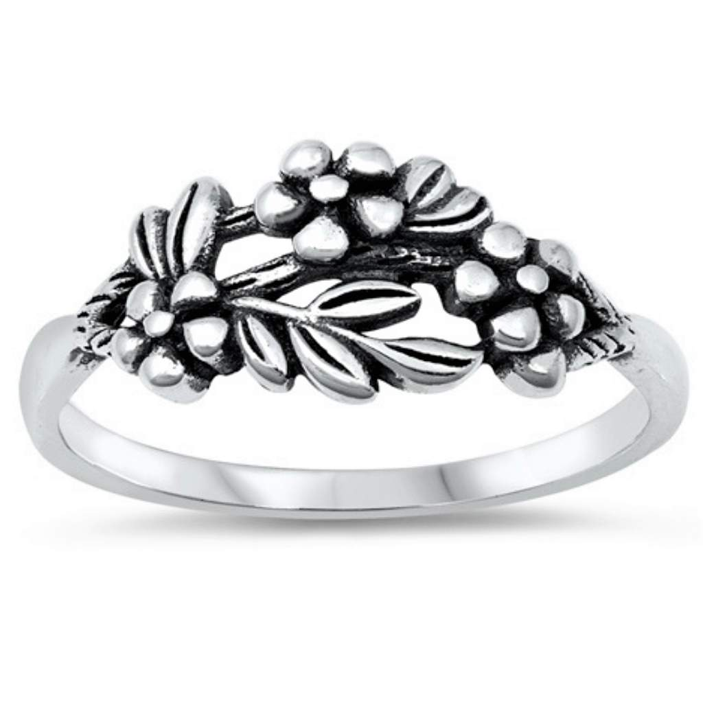 Flowers Nestled on Leaves Sterling Silver Ring - JaeBee Jewelry