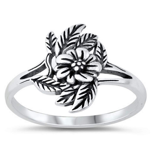 Flower and Leaves Sterling Silver Ring - JaeBee Jewelry