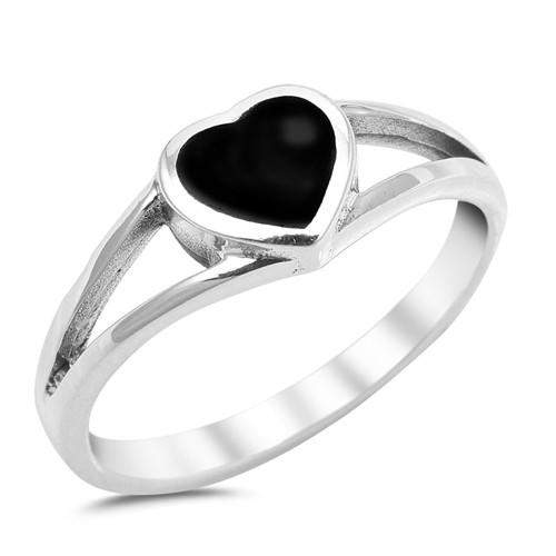 Black Onyx Heart Ring Sterling Silver - JaeBee Jewelry