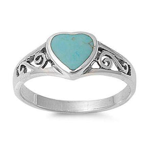 Turquoise Heart Sterling Silver Ring - JaeBee Jewelry