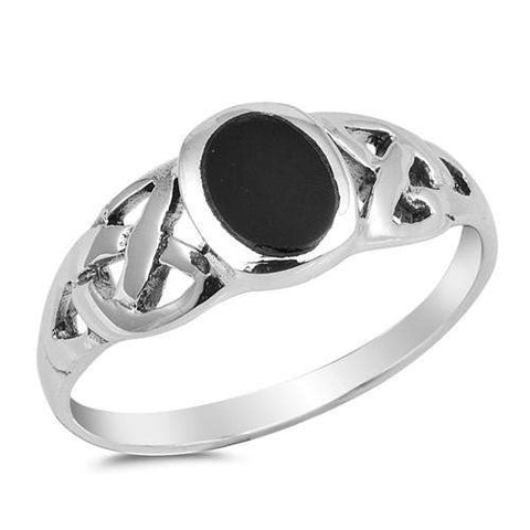 Black Onyx and Sterling Silver Oval Ring