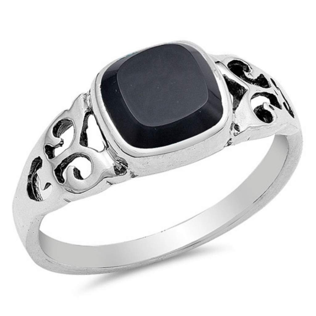Square Black Onyx Sterling Silver Ring - JaeBee Jewelry