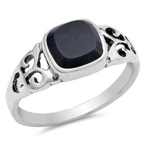 Square Black Onyx Sterling Silver Ring