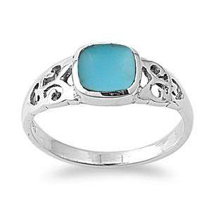 Turquoise Square Stone Sterling Silver Ring - JaeBee Jewelry