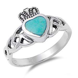 Claddagh Turquoise Heart Ring - JaeBee Jewelry