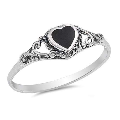 Sterling Silver Black Onyx Heart Ring - JaeBee