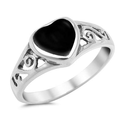 Black Onyx Heart Sterling Silver Ring - JaeBee