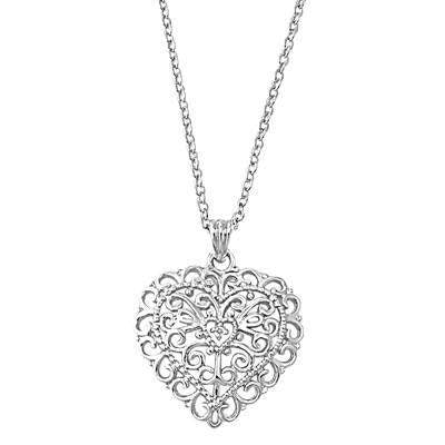 Filigree Sterling Silver Heart Necklace - JaeBee Jewelry