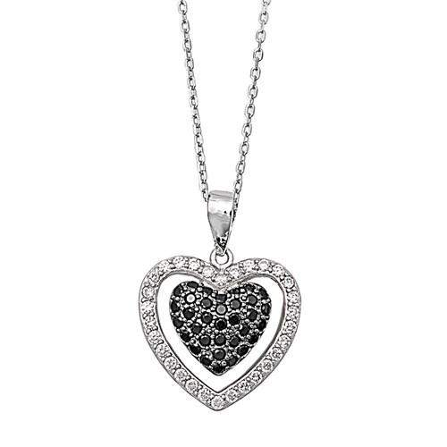 Sterling Silver CZ Black and Clear Heart Necklace - JaeBee