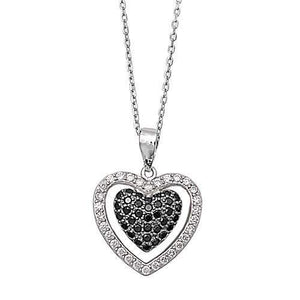 Sterling Silver CZ Black and Clear Heart Necklace - JaeBee Jewelry