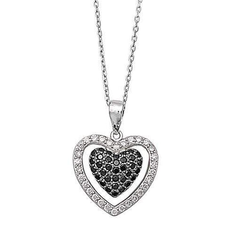 Sterling Silver CZ Black and Clear Heart Necklace