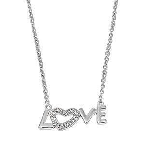 Love Sterling Silver and Cubic Zirconia Necklace - JaeBee Jewelry