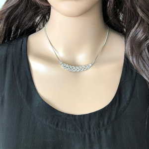 Silver and Crystal Braided Collar Necklace - JaeBee Jewelry