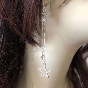 Silver Double Crystal Star Long Earrings - JaeBee Jewelry