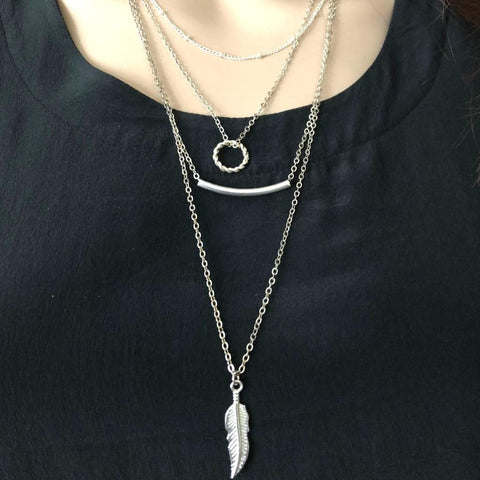 Silver Layered Bar and Feather Long Necklace