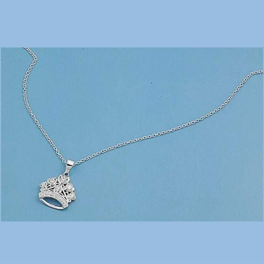 Sterling Silver and CZ Crown Pendant Necklace