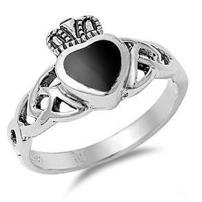 Claddagh Black Onyx Heart Ring