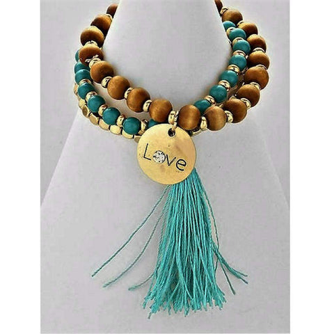 Teal, Brown and Gold Beaded Stretch Bracelets