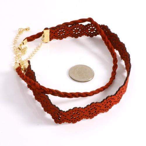 Burgundy Layered Flower Choker - JaeBee Jewelry