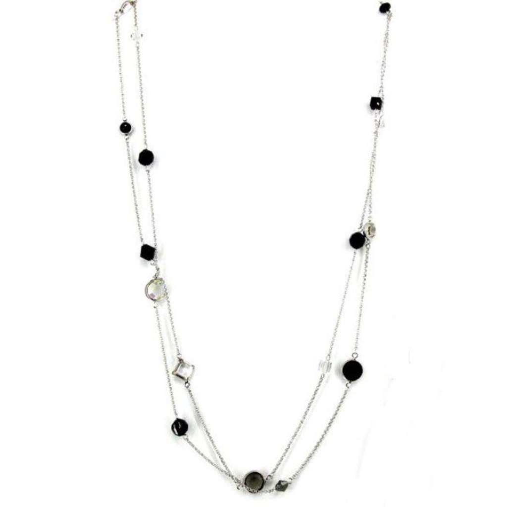 Black and Clear Crystal Long Silver Necklace - JaeBee Jewelry