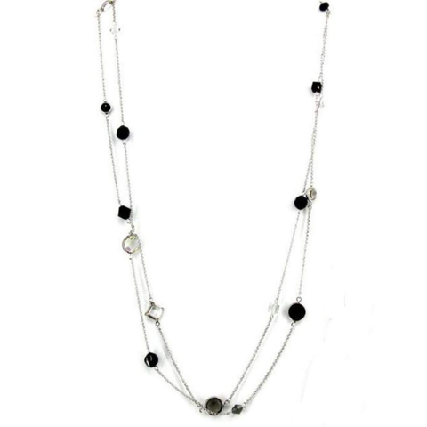 Black and Clear Crystal Long Silver Necklace