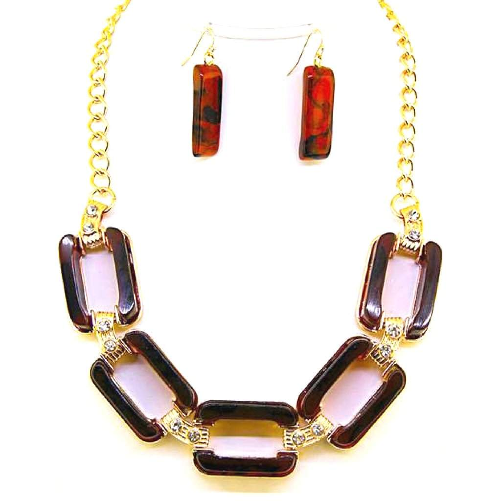 Brown Rectangle Link Statment Necklace - JaeBee Jewelry