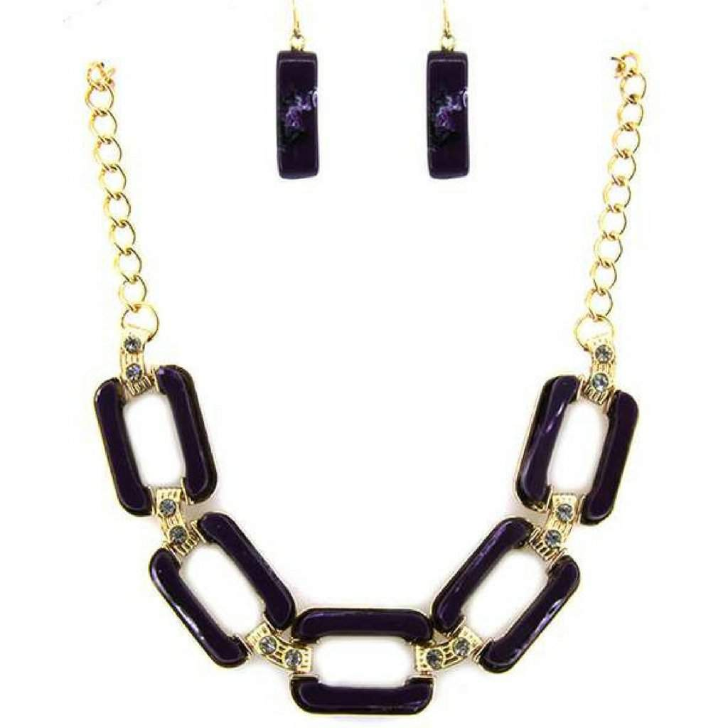 Black Rectangle Link Statment Necklace - JaeBee Jewelry