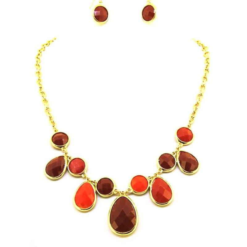 Orange and Deep Red Teardrop and Round Stone Statement Necklace