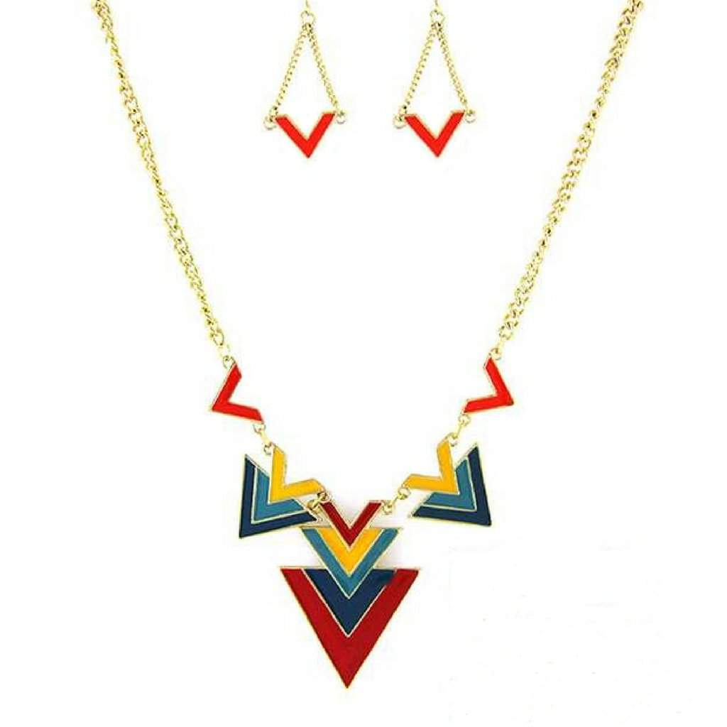 Colorful Geometric Triangle Necklace - JaeBee Jewelry