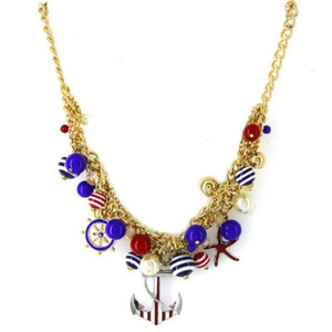 Nautical Red White and Blue Charm Necklace - JaeBee Jewelry