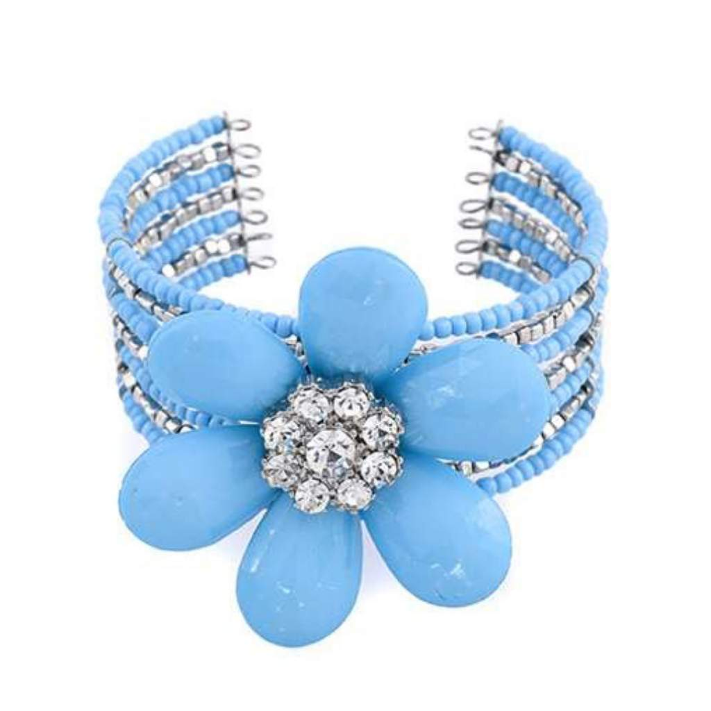 Baby Blue Large Flower Cuff Bracelet - JaeBee Jewelry