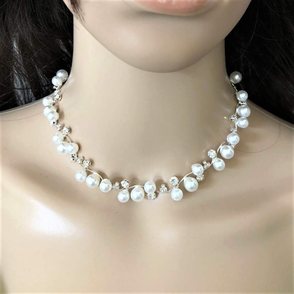 Pearl and Rhinestone Silver Chain Necklace and Earrings Set - JaeBee Jewelry